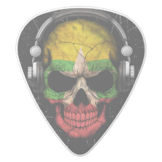 Scratched Myanmar Dj Skull with Headphones White Delrin Guitar Pick