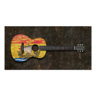 Scratched New Brunswick Flag Acoustic Guitar Print