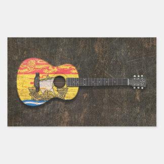 Scratched New Brunswick Flag Acoustic Guitar Rectangular Sticker