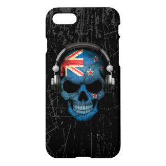 Scratched New Zealand Dj Skull with Headphones iPhone 7 Case