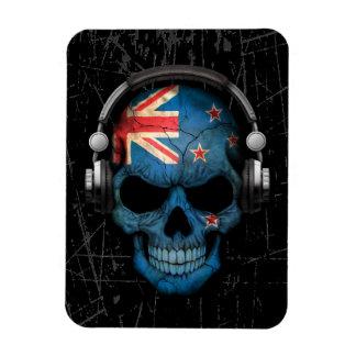 Scratched New Zealand Dj Skull with Headphones Magnet