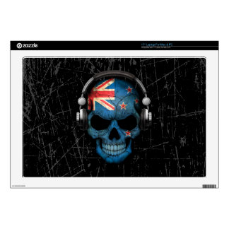 """Scratched New Zealand Dj Skull with Headphones Decals For 17"""" Laptops"""