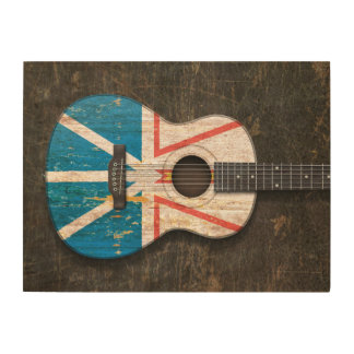 Scratched Newfoundland Flag Acoustic Guitar Wood Wall Art