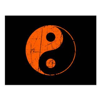 Scratched Orange and Black Vintage Yin Yang Postcard