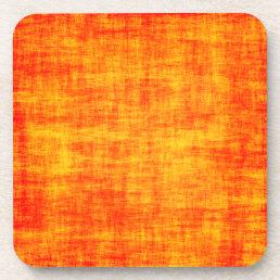 Scratched orange beverage coaster