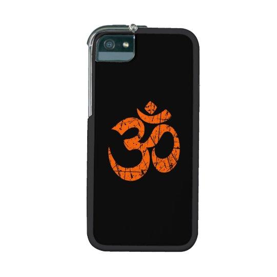 Scratched Orange Yoga Om Symbol on Black Case For iPhone SE/5/5s