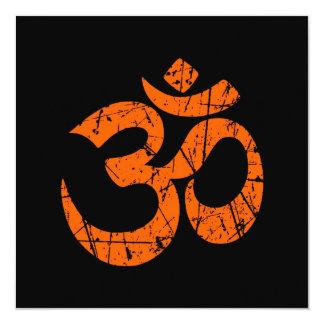 Scratched Orange Yoga Om Symbol on Black 5.25x5.25 Square Paper Invitation Card