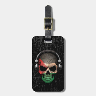 Scratched Palestinian Dj Skull with Headphones Luggage Tag