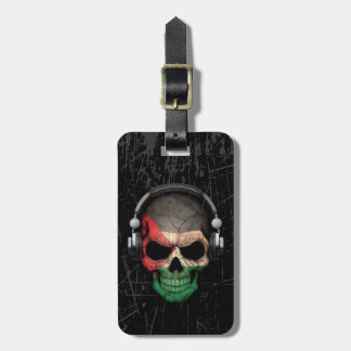 Scratched Palestinian Dj Skull with Headphones Tags For Bags