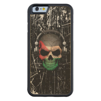 Scratched Palestinian Dj Skull with Headphones Carved® Maple iPhone 6 Bumper