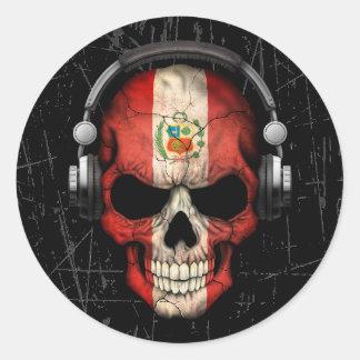 Scratched Peruvian Dj Skull with Headphones Classic Round Sticker