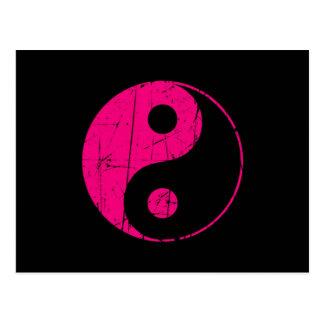 Scratched Pink and Black Vintage Yin Yang Postcard