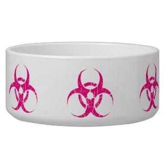 Scratched Pink Biohazard Symbol Pet Bowls