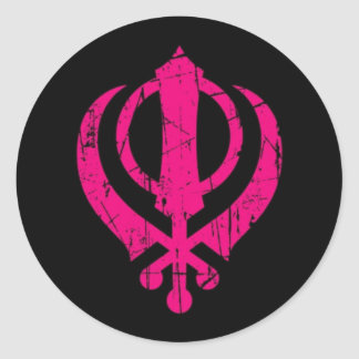Scratched Pink Sikh Khanda Symbol on Black Classic Round Sticker