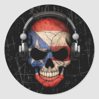 Scratched Puerto Rican Dj Skull with Headphones Classic Round Sticker