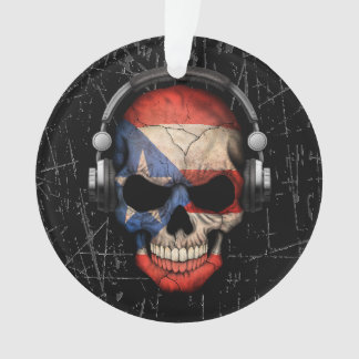Scratched Puerto Rican Dj Skull with Headphones Ornament