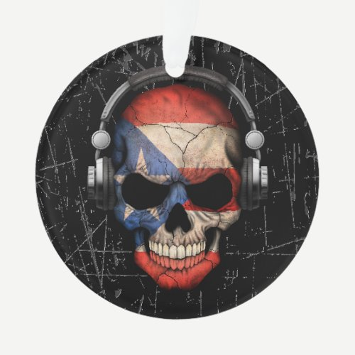 Scratched Puerto Rican Dj Skull with Headphones Ornament