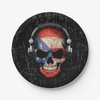 Scratched Puerto Rican Dj Skull with Headphones Paper Plate