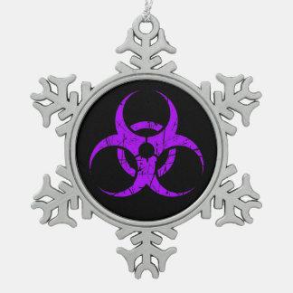 Scratched Purple Biohazard Symbol on Black Snowflake Pewter Christmas Ornament