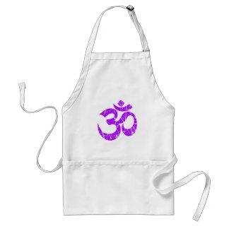Scratched Purple Yoga Om Symbol Adult Apron