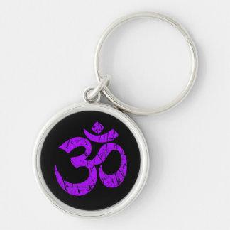 Scratched Purple Yoga Om Symbol on Black Keychain