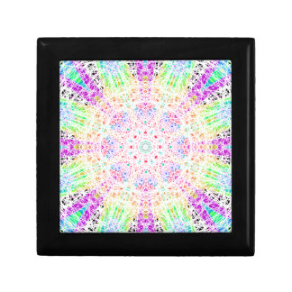 Scratched Rainbow Mandala Small Tile Gift Box