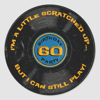 Scratched Record 60th Birthday Classic Round Sticker