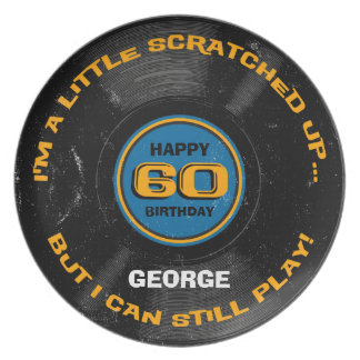 Scratched Record 60th Birthday Dinner Plate