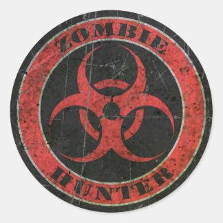 Scratched Red and Black Bio Hazard Zombie Hunter Classic Round Sticker