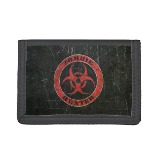 Scratched Red and Black Bio Hazard Zombie Hunter Tri-fold Wallet