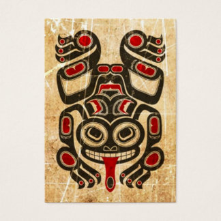 Scratched Red and Black Haida Spirit Tree Frog Business Card