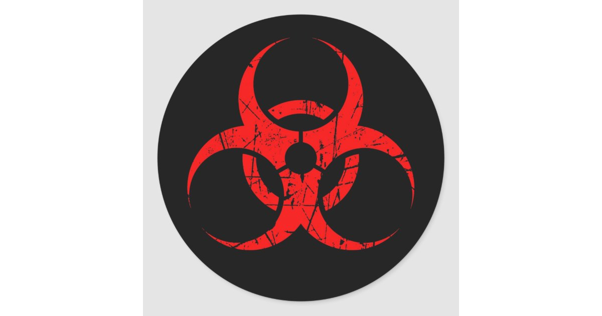 scratched red biohazard symbol on black classic round