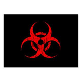 Scratched Red Biohazard Symbol on Black Large Business Card