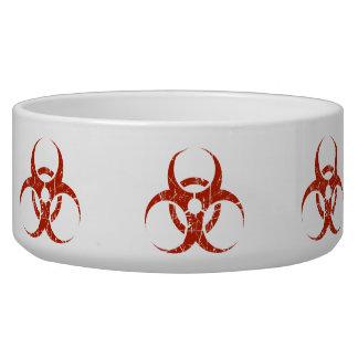 Scratched Red Biohazard Symbol Dog Water Bowls