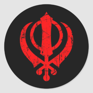 Scratched Red Sikh Khanda Symbol on Black Classic Round Sticker