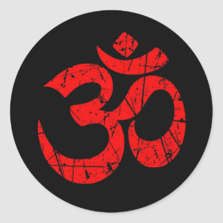 Scratched Red Yoga Om Symbol on Black Classic Round Sticker