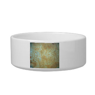 Scratched, Rusted Blue Paint. Pet Bowls