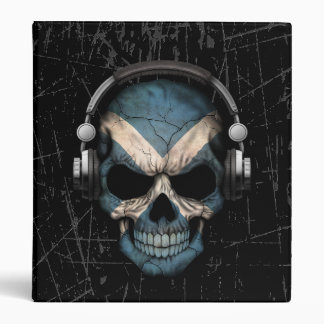 Scratched Scottish Dj Skull with Headphones Binder