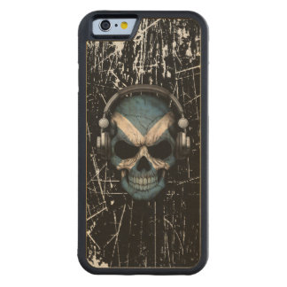 Scratched Scottish Dj Skull with Headphones Carved® Maple iPhone 6 Bumper
