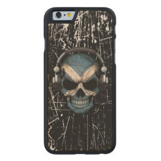 Scratched Scottish Dj Skull with Headphones Carved® Maple iPhone 6 Case