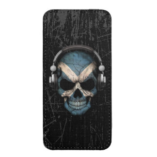 Scratched Scottish Dj Skull with Headphones iPhone 5 Pouch