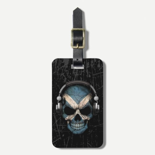 Scratched Scottish Dj Skull with Headphones Luggage Tag