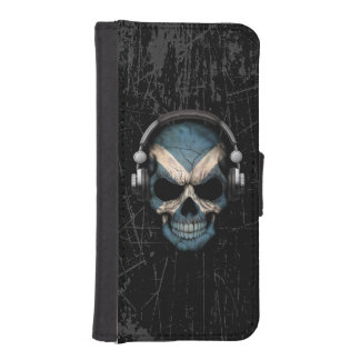 Scratched Scottish Dj Skull with Headphones Phone Wallets