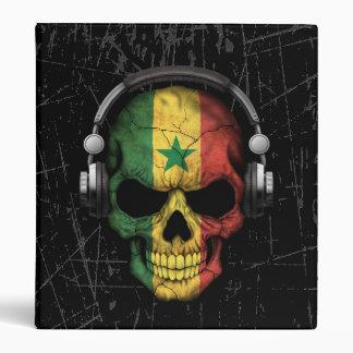 Scratched Senegal Dj Skull with Headphones 3 Ring Binder