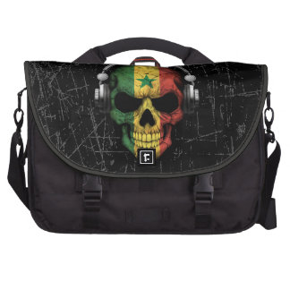 Scratched Senegal Dj Skull with Headphones Laptop Bags