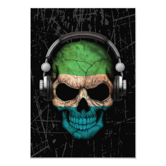 Scratched Sierra Leone Dj Skull with Headphones 3.5x5 Paper Invitation Card
