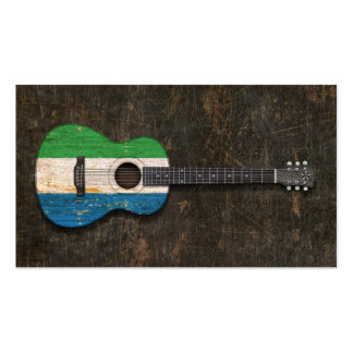 Scratched Sierra Leone Flag Acoustic Guitar Business Card Template