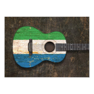 Scratched Sierra Leone Flag Acoustic Guitar 5x7 Paper Invitation Card