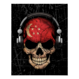 Scratched Singapore Dj Skull with Headphones Poster