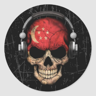 Scratched Singapore Dj Skull with Headphones Classic Round Sticker